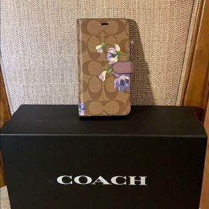 Coach iPhone X Folio Case in Signature Leather